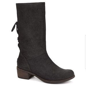 《Ugg》Black Lace Up Calf Boots Sz 9.5 AUTHENTIC
